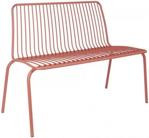 LEITMOTIV Exteriérová lavička Lineate Metal – tehlová