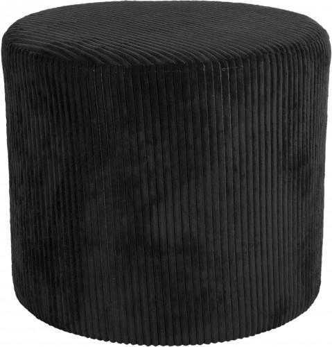 LEITMOTIV Menčestrový čierny taburet Glam