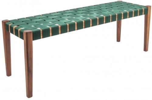 Zelená lavica z akáciového dreva s nylonovým poťahom Leitmotiv Weave