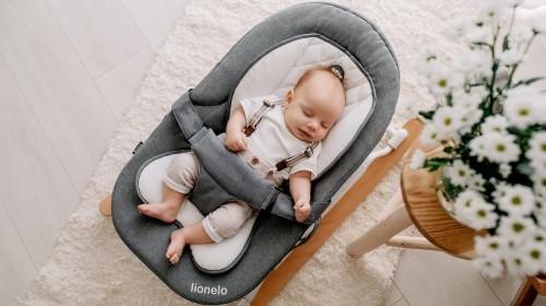 Detské lehátko LIONELO - šedo-bielej