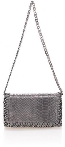 Sivá kožená listová kabelka Lisa Minardi Baso