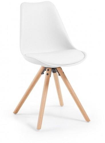 Biela stolička s bukovými nohami loomi.design Lumos