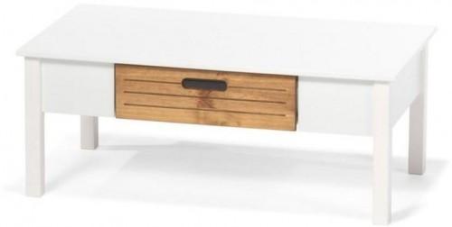 Biely konferenčný stolík z borovicového dreva so zásuvkou loomi.design Ibiza