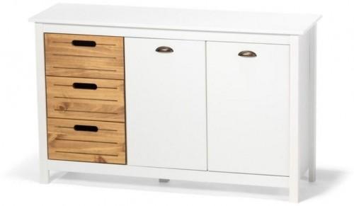 Biely príborník z borovicového dreva s 5 zásuvkami loomi.design Ibiza