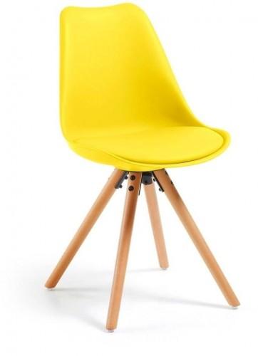 Žltá stolička s bukovými nohami loomi.design Lumos