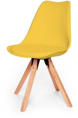 Žltá stolička s podnožím z bukového dreva loomi.design Eco