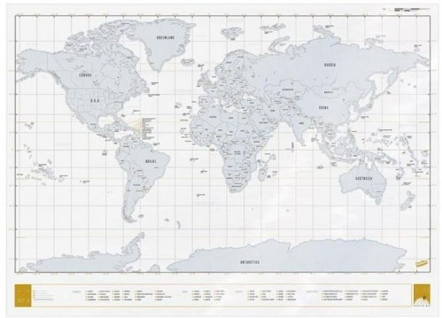 Stieracia mapa sveta Luckies of London Clear Scratch