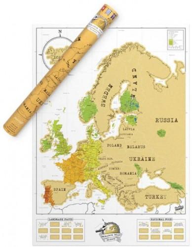 Zoškrabávacia mapa Evropy Luckies of London