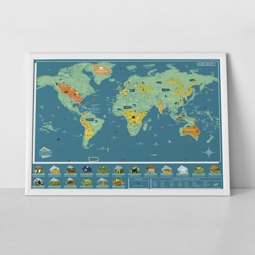 Zoškrabávacia mapa sveta Luckies of London Wild World