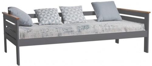 Antracitovosivá jednolôžková posteľ z masívneho borovicového dreva Marckeric Alba, 90×190 cm