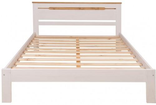 Biely rám dvojlôžkovej postele z borovicového dreva Marckeric Elisa, 150 × 197,5 cm