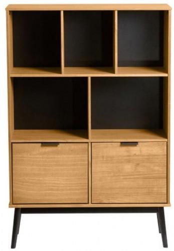 Hnedá knižnica s hnedými dvierkami z borovicového dreva Marckeric Estela, výška 141,5 cm