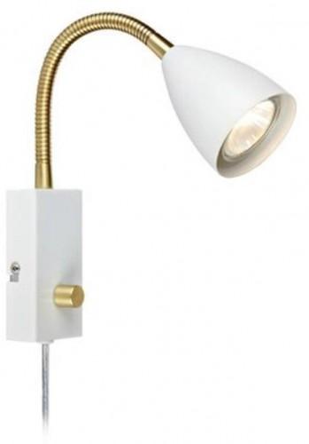 Biele nástenné svietidlo s detailmi v mosadznej farbe Markslöjd Ciro Flex
