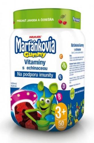 WALMARK Marťankovia Gummy Vitamíny s Echinaceou želatínové tablety, príchuť jahoda a čerešňa 1x50 ks
