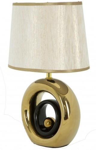 Biela stolová lampa s konštrukciou v zlatej farbe Mauro Ferretti Round