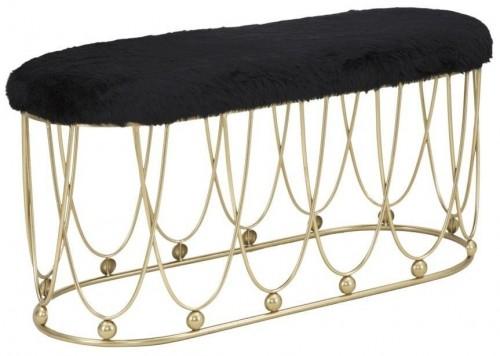 Čierna polstrovaná lavica so železnou konštrukciou v zlatej farbe Mauro Ferretti Amelia