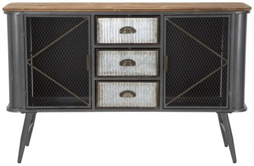 Železná komoda s doskou z jedľového dreva Mauro Ferretti Illinois