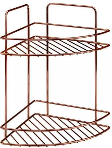 Kúpeľňová rohová polička s dvoma poschodiami Metaltex Copper