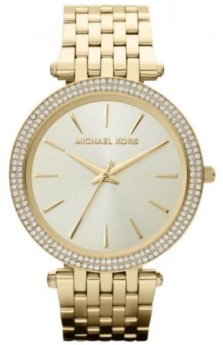 Dámske hodinky v zlatej farbe lemované kamienkami Michael Kors Darci