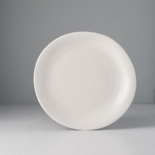 Biely nepravidelný kruhový tanier MODERN 26 x 24 cm