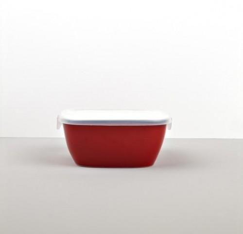 Colourblock hranatá nádoba s vekom červená 14 cm