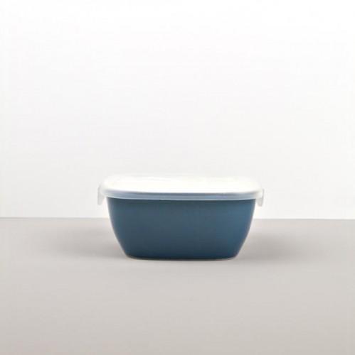 Colourblock hranatá nádoba s vekom modrá 14 cm