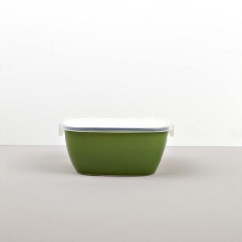 Colourblock hranatá nádoba s vekom zelená 14 cm