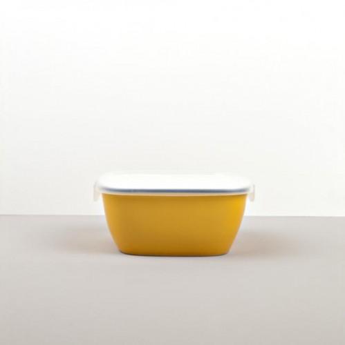 Colourblock hranatá nádoba s vekom žltá 14 cm