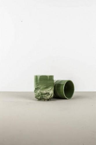 Hrnček bez ucha Mug Sushi mramorovo-zelený
