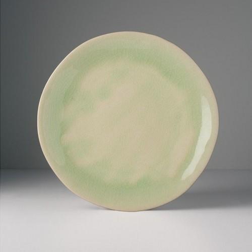 Veľký guľatý tanier s nepravidelným okrajom Celadon 26 cm