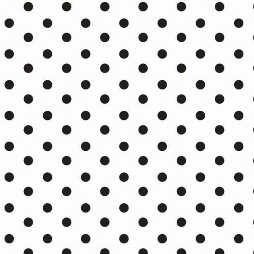 Bavlnená látka Dots white/black