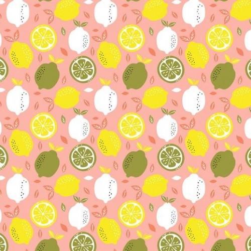 Bavlnená látka Fresh lemon coral