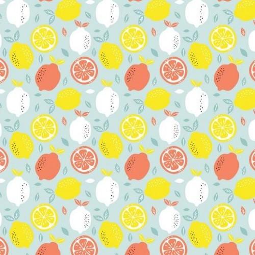 Bavlnená látka Fresh lemon light blue