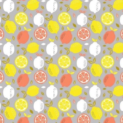 Bavlnená látka Fresh lemon light grey