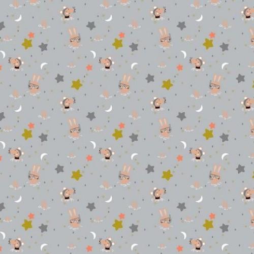 Bavlnená látka Glitter animals grey