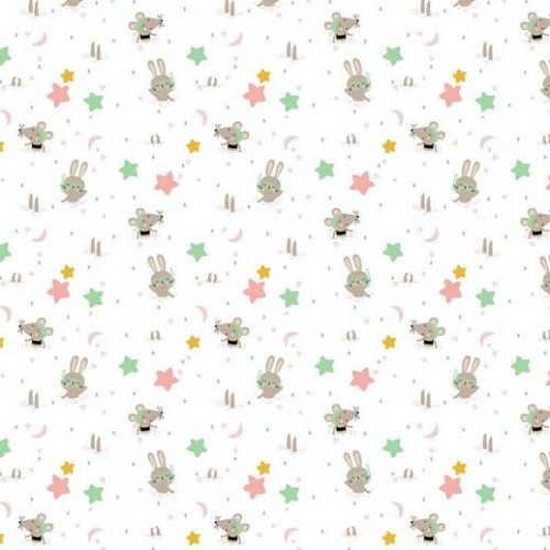 Bavlnená látka Glitter animals white