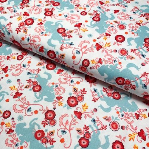 Bavlnená látka SPIRIT Meadow white digital print