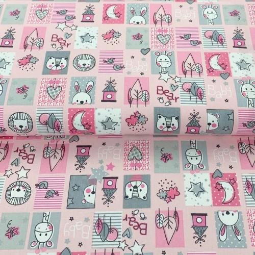 Bavlnená látka Sweet animals patchwork pink