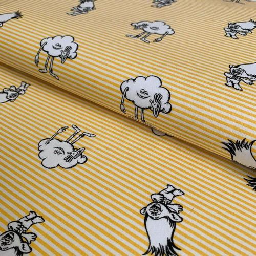 Bavlnená látka Trolls Give me five yellow