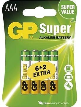 GP Super Alkaline LR03 (AAA) 6+2ks v blistru