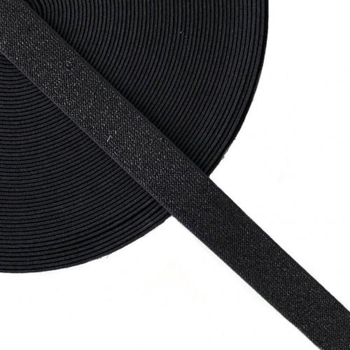 Guma hladká 2,5 cm glitter black