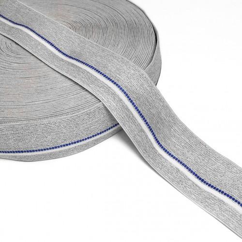 Guma hladká 4 cm BLUE STRIPE light grey