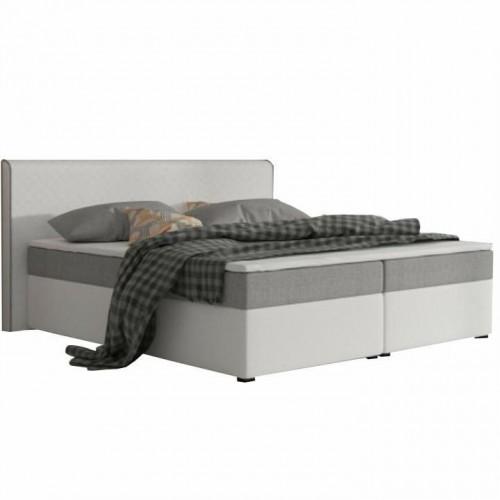 Komfortná posteľ, sivá látka/biela ekokoža, 180x200, NOVARA MEGAKOMFORT VISCO