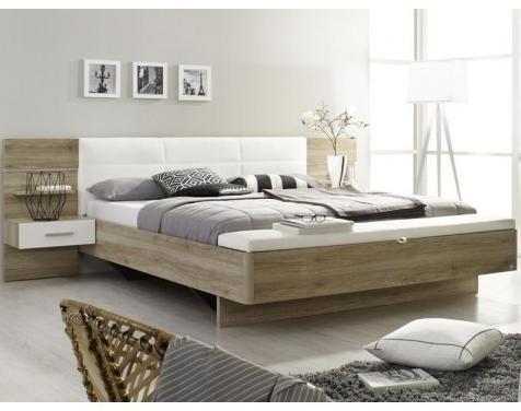 Postel s nocnými stolíky a lavicou bílá koženka