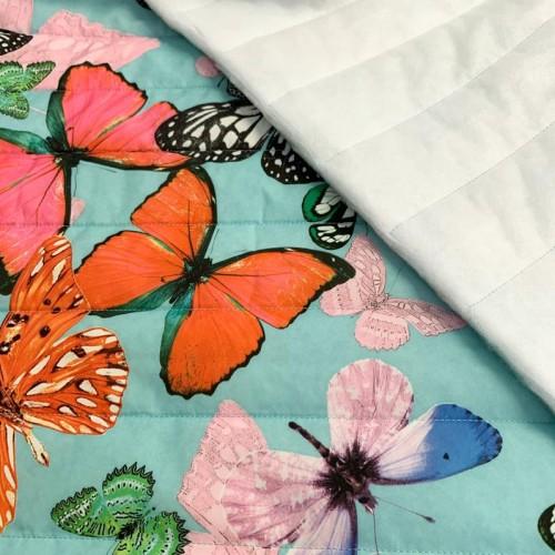 Prešívaná látka My Butterfly light blue
