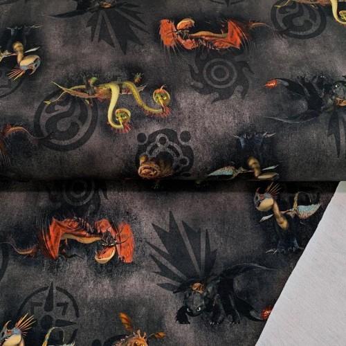 Teplákovina How to train your dragon black digital print