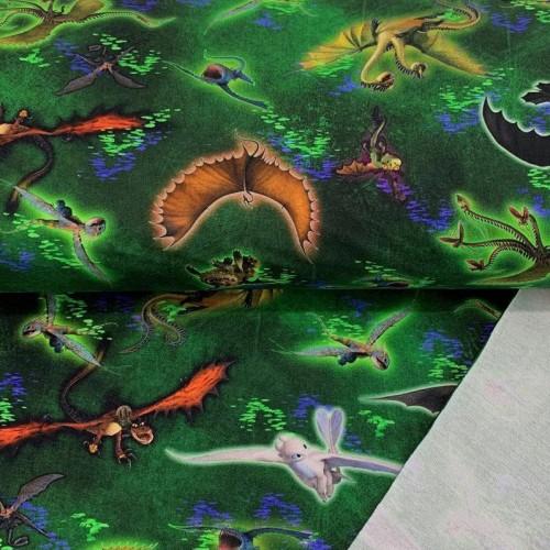 Teplákovina How to train your dragon green digital print