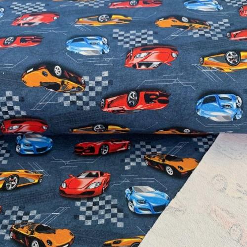 Teplákovina Street race blue digital print