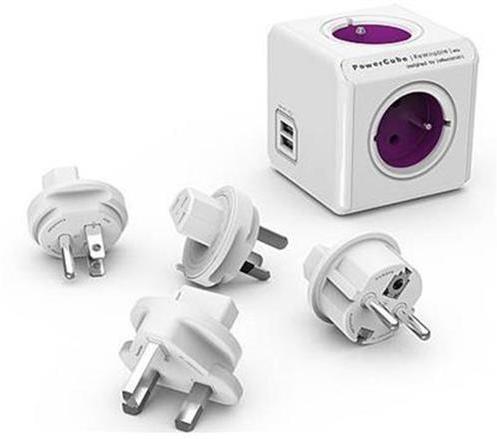 Zásuvka PowerCube REWIRABLE USB Violet + 4x cest. adap., 2x USB, 4 rozbočka, 6A 423687