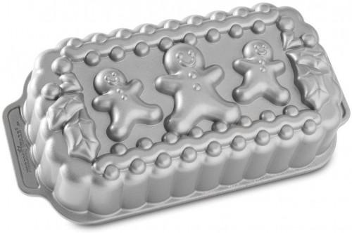 Forma na chlebíček v striebornej farbe Nordic Ware Gingerbread Family, 1,4 l